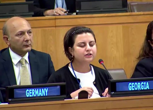 Esma Gumberidze, a representative of youth of Georgia, delivered a speech at the UN