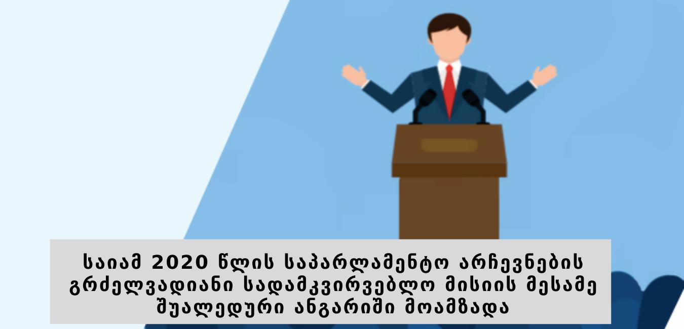 საიამ 2020 წლის საპარლამენტო არჩევნების გრძელვადიანი სადამკვირვებლო მისიის მესამე შუალედური ანგარიში მოამზადა