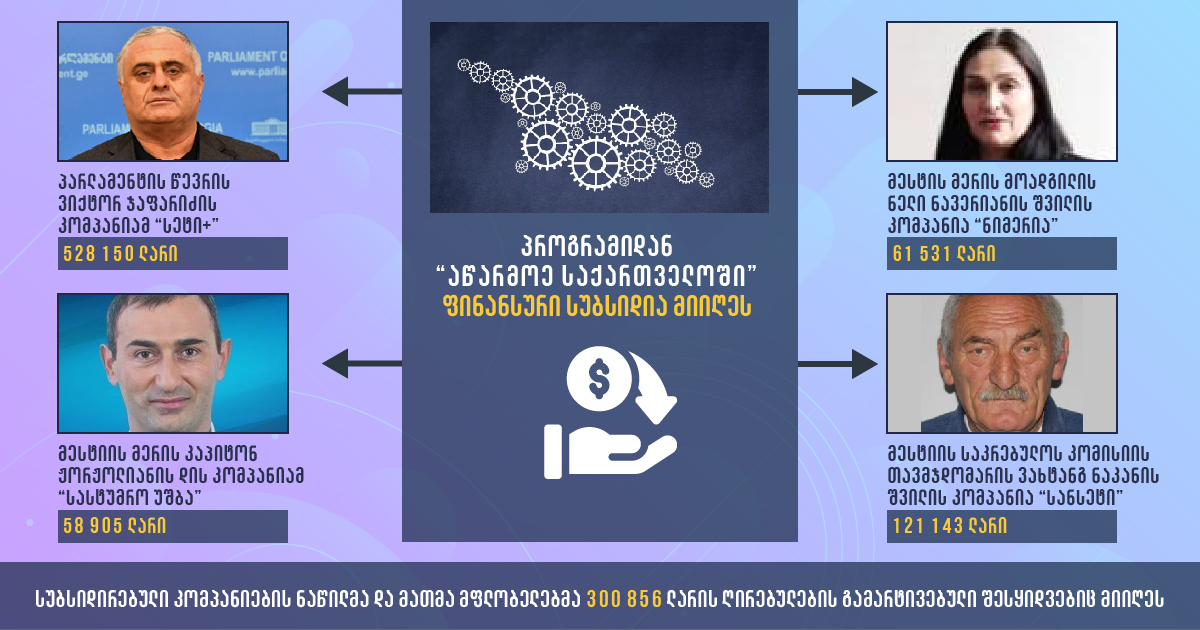 მესტიაში თანამდებობის პირებთან დაკავშირებული კომპანიები სახელმწიფო პროგრამიდან სუბსიდიას იღებენ