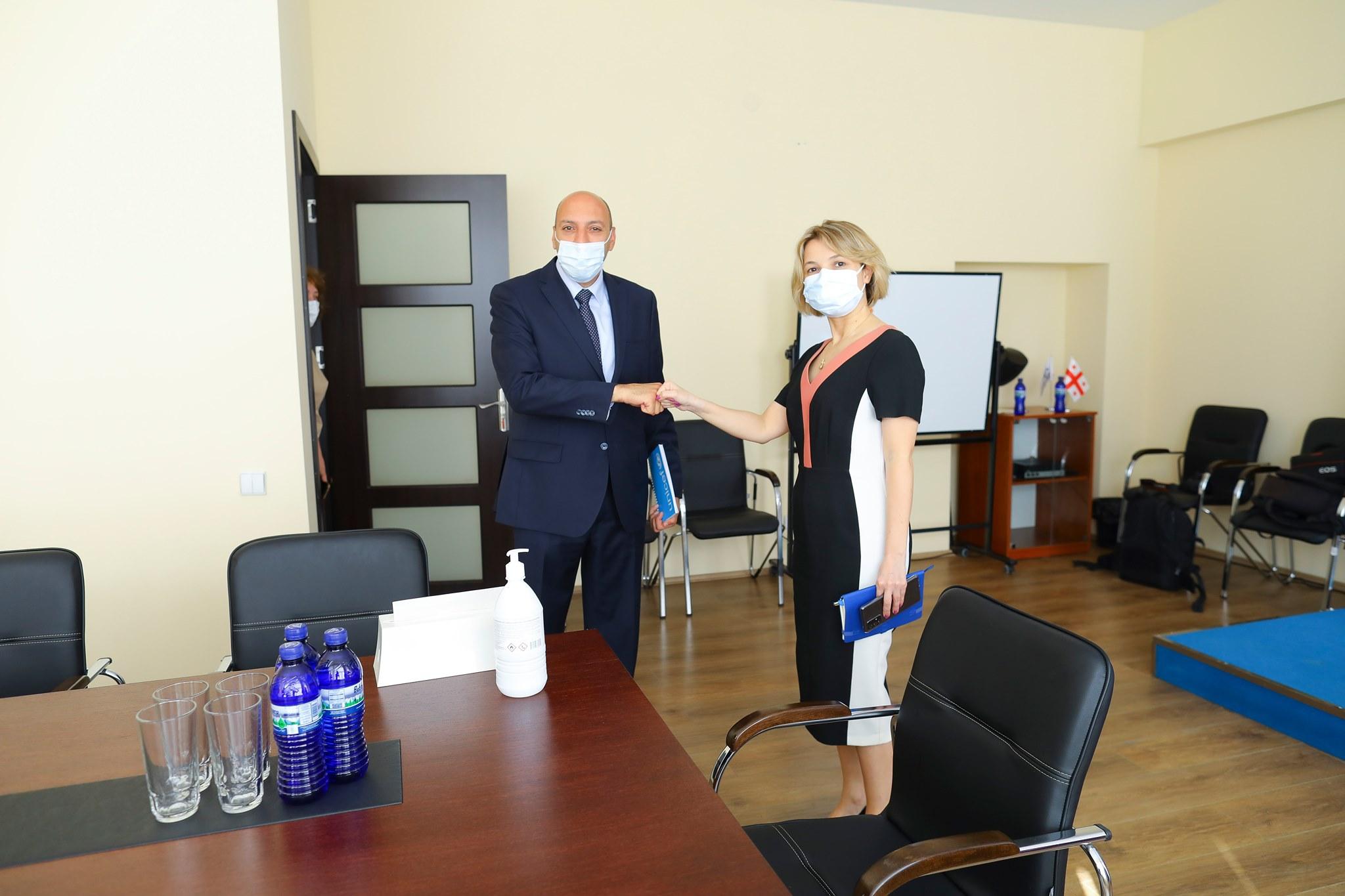 UNICEF Representative in Georgia, Ghassan Khalil met with the Public Defender of Georgia, Nino Lomjaria